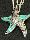 Starfish Rainbow Large Enamel  Beads Charm Tibetan Silver 18 Necklace D90