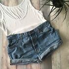 VINTAGE LEVI BLUE DENIM SHORTS SIZE 14 12 W34 HIGH WAIST CUT OFFS MOM 6