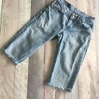 VINTAGE LEVI BLUE DENIM SHORTS SIZE 8 10 W28 HIGH WAIST CUT OFFS MOM B45