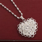 925 Silver Wedding Heart Flower Pendant Chain 24 inches Necklace for Women