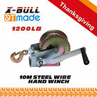 X-BULL 1200LBS Cable Hand Winch/Manual Steel Rope Winch/Boat Trailer Car Mount