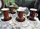Fitz & Floyd Japan Rondelet Brown Dinnerware 4 Latte With Saucers