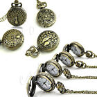 Antique Bronze Tone Men Pocket Chain Quartz Pendant Watch Necklace Xmas Gift New