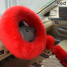 1 Set Long Plush Fuzzy Steering Wheel Cover Pale Mauve Wool Handbrake Car Covers