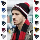 Team Bobble Hat Beanie Hat Striped Stripey Football Mens Warm Womens Ladies