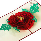 3D Pop Up Greeting Cards Peony Birthday Valentine Mother Day Christmas QH