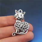 10Pcs Tibetan silver Cat Shaped Pendants Charms Crafts Findings 3723mm