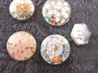 Antique Asian Satsuma buttons w flowers all shanks great condition