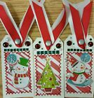 Premade Scrapbook Page SEWN Tags EmbellishSet of 3 Tags Snowman Play