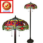 Red Tiffany Style with Green Dragonfly Floor Lamp Made w Handcut Stained Glass
