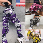 USA Women Camouflage Denim Harem Pants High Waist Casual Trousers Loose Bloomer