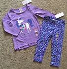 Toddler Girl Size 2 2T Gymboree Purple Unicorn Tee Top  Floral Leggings Outfit