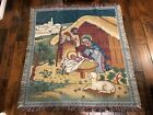 American Weavers NATIVITY CHRISTMAS TAPESTRY BLANKETFringe Woven Throw