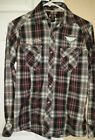 Mens size small Ring of Fire plaid western style shirt with pearl snaps