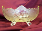 Vintage Jeannette Footed Lombardi Serving Bowl, Clear w/ Gold Trim (circa 1940s)