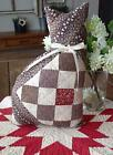 Primitive Browns Stuffed Antique 1880s Quilt Cat Pillow 14 1/4