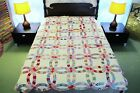 FULL, OUTSTANDING Vintage Hand Sewn Feed Sack WEDDING RING QUILT, Good Condition