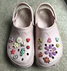 Crocs Cayman Cotton Candy Pink Shoes Womens 8 9 With Jibbitz