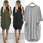 2018 Plus Size Womens Pocket Casual Dress Ladies Baggy Jumper Oversized Tops Hot