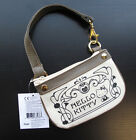 New Authentic Sanrio HELLO KITTY Canvas Wristlet Off White Brown MSRP995 NWT