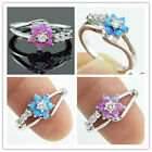 925 Silver Ring Flower Daisy Fire Opal Women Engagement Wedding Party Size 6 10