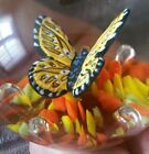 MINTY VINTAGE 1976 MAUDE  BOB ST CLAIR ART GLASS SULPHIDE BUTTERFLY PAPERWEIGHT
