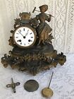 ANTIQUE FRENCH FIGURAL MANTEL CLOCK LATE 1800