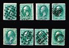 USA STAMP 19th 3c Green Fancy Cancel Stamps Collection Lot 2