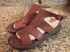 Keen Cush Brown Leather Buckle Strappy Sandals 11 with Roses RARE