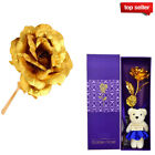 US 24K Gold Plated Romantic Rose Flower Valentines Day Birthday Girlfriend Gift