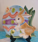 Fitz Floyd Painting Easter Eggs Canape Plate Easter Bunny Rabbit W/Box