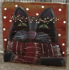 *~*PRIMITIVE*~* HP FOLK ART PRIM HOLIDAY CAT *~* WINTER *~* OLD RED BARN WOOD