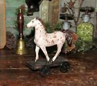 Primitive Countryside Ranch Farmhouse Pull Toy Horse Pony ON WHEELS Shelf Sitter
