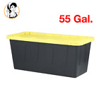 55 Gal Heavy Duty Storage Tote Lockable Plastic Box Shop Garage Container