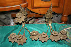 Antique Victorian Brass Metal 4 Arm Wall Sconce Candle Holders-Pair-Flowers
