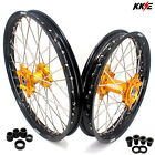 21/19 Fit SUZUKI RM125 RM250 1996-2008 Motorcycle Mx Spoked Wheels Rims Set Gold