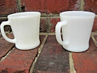 Vintage-FIRE-KING-IVORY-D-HANDLE-CUP-MUG-1940 FLAT-BOTTOM SET of 2 MINT !! LOT A