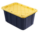 Storage Tote Home Organization Bins Large Black Heavy Duty Plastic Sturdy Handle