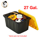 27 Gal Storage Tote Tough Heavy Duty Stackable Plastic Box Shop Gara