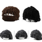 Men Women Funny Mask Hat Beard Wig Hat Hobo Handmade Knit Warm Winter Cap MAD