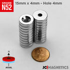 15 Mm X 4 Mm Hole 4mm Countersunk Ring Disc Rare Earth Crafts Strong Magnets