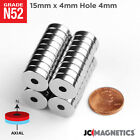 15 Mm X 4 Mm Hole 4 Mm Ring Disc Rare Earth Neodymium Craft Strong Magnet N52