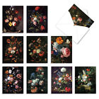 BAROQUE BLOOMS 10 Assorted All Occasion Note Cards Flower Floral Stationery