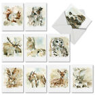 M6629OCB Watercolor Wildlife 10 Assorted All Occasion Note Cards Envelopes