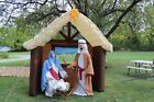 SUPER RARE 9FT TALL VINTAGE GEMMY INFLATABLE CHRISTMAS NATIVITY MANGER SCENE