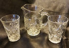 Vintage Anchor Hocking Prescut Clear Juice for Two Set (3 pieces), circa 1960s