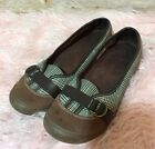 LANDS END Womens Brown Plaid Slip In Comfort Shoes Size 85