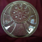Vintage Indiana Glass Pebble Leaf Deviled Egg Plate + Relish (circa 1960s)