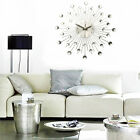 Modern Metal Wall Clock Clear Diamante Crystal Large Home Office Decor Gift US