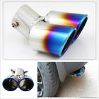 Universal Blue Burnt Dual Exhaust Pipes Rear Tail Muffler Tips Stainless Steel